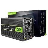 Green Cell 3000W/6000W Reiner Sinus Spannungswandler Wechselrichter 12V auf 230V Konverter Pure Sine Power Inverter für Auto mit USB-Ladeanschluss und Direktanschluss an Autobatterie