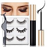 Magnetische Wimpern, Magnetic Eyeliner, 3D Künstliche Magnetische Wimpern, Natural Look Wiederverwendbar & Wasserdicht False Eyelashes,Gespiegelte Box + Pinzette