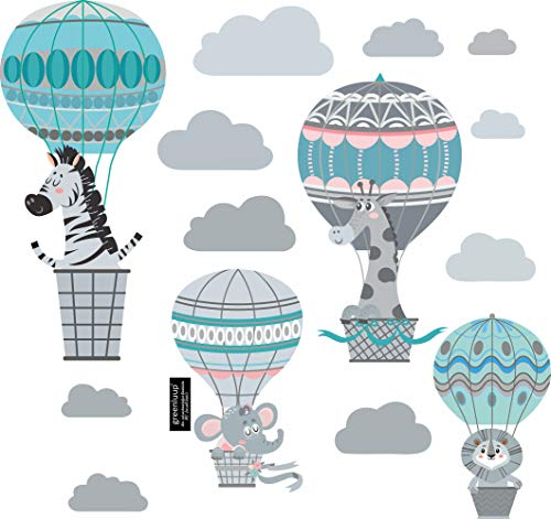greenluup große, umweltfreundliche Wandsticker Wandtattoos Kinderzimmer Mädchen Jungen Baby Zebra Elefant Giraffe Tiere Rosa Mint Grau aus Vlies (w20)