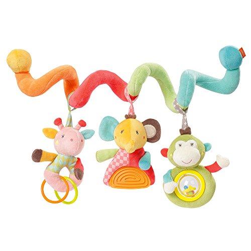 Fehn 074451 Activity-Spirale Safari / Stoff-Spirale zum Greifen und Fühlen für Bett, Kinderwagen, Laufgitter anpassbar / Für Babys und Kleinkindern ab 0+ Monaten / Maße: 30cm lang