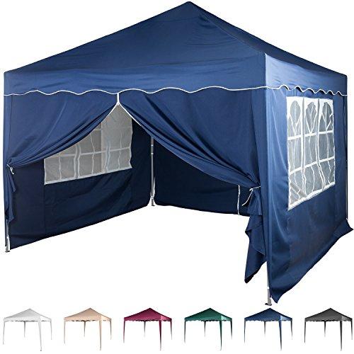 Faltpavillon 3x3 m mit 4 Seitenteilen, WASSERDICHT, Farben wählbar, inkl. Tragetasche + Zubehör, versiegelte Nähte, DIN ISO zertifiziert, Weiß Champagner Blau Grün Burgund Anthrazit