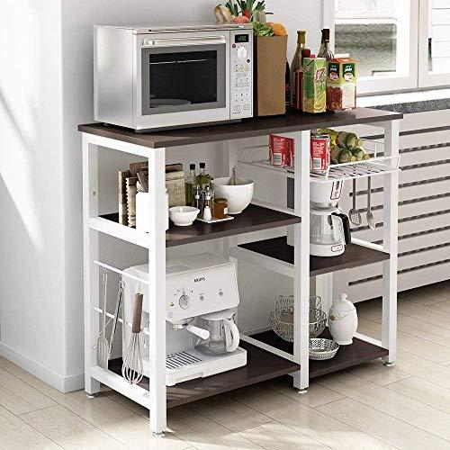 soges Bäckerregal Küchenregal Standregal Bäcker Regal Mikrowellenhalter multifunktionale Küche Aufbewahrungsregal mit 3 Ablage,Schwarz
