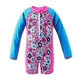 Attraco Baby Mädchen Jungen Rash Vest UV-Einteiler Rash Guard Bademode UPF 50+ Gr. 24-36 Monate, Floral Blue