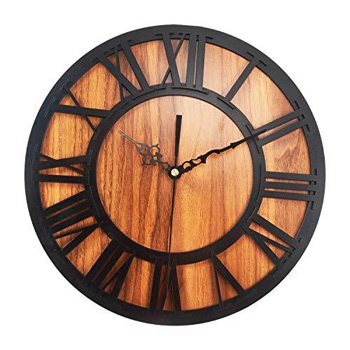 Babimax Holz Wanduhr kein nerviges Ticken Dekoration für Wohnzimmer Esszimmer Küche Halle, Vintage Design, 30CM Ø