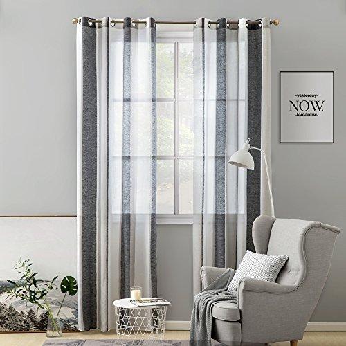 MIULEE Voile Vorhang Transparente Gardine aus Voile mit Ösen Schlaufenschal Ösenschals Transparent Fensterschal Wohnzimmer Schlafzimmer 225x140 cm, 2er Set Schwarz und Weiß