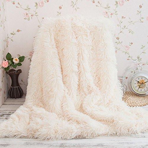 Kuscheldecke PV longhair Blanket Microfaser Kunstfell TV Decke Tages Klimaanlage Decke für Couch Bett Leicht Flauschig (160*200cm, Weiß)
