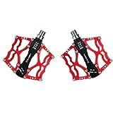 LARS360 1 Paar Mountainbike Rennrad Fahrrad Pedale 9/16' 4 Farben MTB BMX Downhill Radfahren Plattform Pedale (Rot)