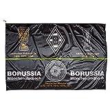 Unbekannt VFL Borussia Mönchengladbach Borussia Mönchengladbach - Fohlenelf-Artikel - Hissfahne Erfolge - 150 x 100 cm Fahne - Flagge, Schwarz,