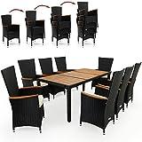 Deuba Poly Rattan Sitzgruppe 8+1 schwarz   7cm dicke Sitzauflagen creme   8 stapelbare Stühle   Tischplatte + Armlehnen aus Akazienholz [ Modellauswahl ] - Sitzgarnitur Gartengarnitur Gartenmöbel Holz Set
