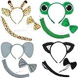 4 Sätze Kinder Tier Kostüm Lustige Katze Elefanten Frösche Giraffen Kostüm Ohren Stirnband mit Fliege Schwanz Krawatte für Cartoon Kostüm Party Gefälligkeiten