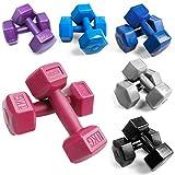 BESTIF Hanteln Set für Frauen Hexagon Hantel Gewichte Damen | Dumbbell | Kurzhantel-Set aus Kunststoff | 2 Stück | Gewicht und Farbenauswahl 1 – 4 kg | Fitness Gymnastik Aerobic (Lila 2x2kg)