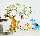 ufengke Cartoon glücklich Tier Baum mit Eule Affen Zebra Giraffe Wandsticker, Babyzimmer Kinderzimmer Entfernbare Wandtattoos Wandbilder