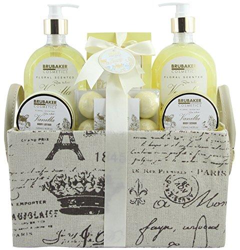 BRUBAKER Cosmetics Bade- und Dusch Set Vanille Rosen Minze Duft - 12-teiliges Geschenkset in Vintage-Henkelbox