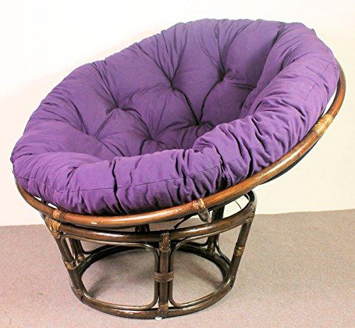 Rattan Papasan Sessel inkl. hochwertigen Polster , D 110 cm , Fb. darkbrown , Polster violett