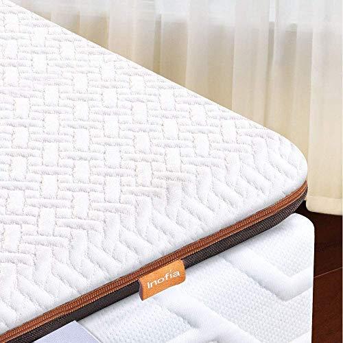 Inofia Matratzenauflage 90x200 Matratzentopper Memory Foam Topper Visco Mattress Topper 2cm Naturbrown Airyfoam+4m Biogrey Reliefoam, 100 Nächte Probeschlafen,10 Jahre Garantie(90 x 200 cm)