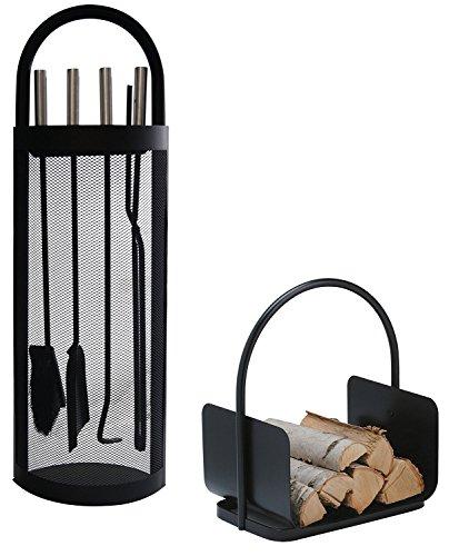 Alpertec Kamingarnitur Set in Eisen und Holzkorb, 2 Stück, schwarz, 39030860
