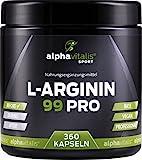 L-Arginin hochdosiert - 99% Wirkstoff Arginin - XXL Dose - 360 L-Arginin Kapseln in Premiumqualität - vegan - allergikergeeignet - ohne Zusätze - von alphavitalis SPORT - Trainingsbooster L-Arginin Base