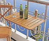 Dynamic24 Balkon Klapptisch Teak Holz Hängetisch Tisch Balkon klappbar Balkonhängetisch