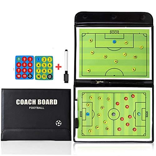 Gracelaza Tragbar Trainer Taktiktafel Fußball - Professional und Faltbar Fussball Taktikmappe Coach-Board mit Magnete, Stifte und Radiergummi(Offene Größe: 54 × 31 cm)#2