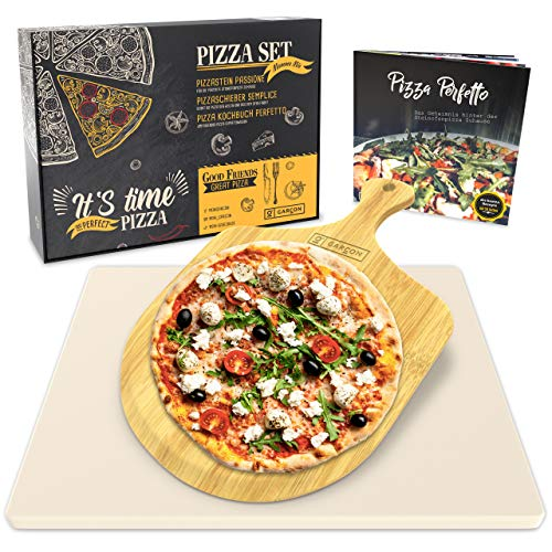 Garcon Pizzastein für Backofen und Gasgrill zum Pizza Backen - 3er Set inkl. Pizza Stone, Pizzaschieber, Kochbuch in Geschenk Box