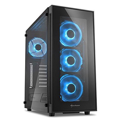 Sharkoon TG5 PC-Gehäuse (mit Seitenfenster und Frontblende aus gehärtetem Glas, 2x USB 3.0, 2x USB 2.0, 4x 120 mm LED-Lüfter) blau