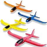 WATINC 4Pcs 13,5-Zoll-Flugzeuge Manuelle Werfen Outdoor-Sport-Spielzeug für anspruchsvolle, Segelflugzeug für Kinder Geburtstagsgeschenk Flying Gliders, Schaum Flugzeug für Jungen und Mädchen