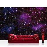 Fototapete 368x254 cm PREMIUM Wand Foto Tapete Wand Bild Papiertapete - Sternenhimmel Tapete Galaxy Sterne Weltraum lila - no. 499