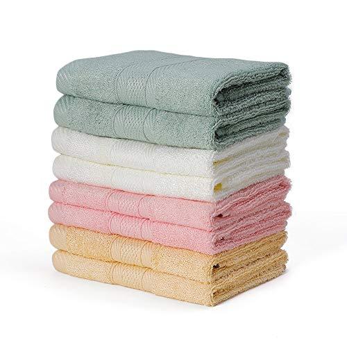 Handtücher Set Waschlappen 8er Frottiertücher 33x33cm Waschtücher Gesichtstücher Saugfähig Schnelltrockend Tücher Multifunktion Bambus YOOFOSS