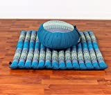Leewadee Meditationsset: Meditationskissen Zafu 40x20cm, Meditationsmatte Zabuton 76x72cm (blau)