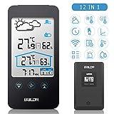 FYLINA 12 in 1 Wetterstation Funk mit Außensensor, Digital Thermometer-Hygrometer für Innen und außen, weiße Hintergrundbeleuchtung und Uhrzeit Anzeige,Schwarz