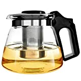 Teekanne Glas Teebereiter 1500 ml mit abnehmbare Edelstahl-Sieb XAGOO Teebereiter mit abnehmbarem Infuser aus Edelstahl