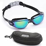 Bezzee-Pro Schwimmbrillen mit kostenlosem Schutzetui - am Besten für Erwachsene Geeignet - UV-Schutz Spiegel - Farbgläser - antibeschlag - antibruch - Dicht - blendfrei - Klare Sicht - Blau/Schwarz