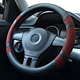 Pahajim Auto Lenkradhülle Lenkrad Abdeckung Microfiber Leder Anti Rutsch Lenkradabdeckung Breathable Fit in Summer, Universal 38(Weinrot)
