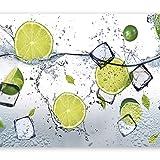 murando - Fototapete Küche 350x256 cm - Vlies Tapete - Moderne Wanddeko - Design Tapete - Wandtapete - Wand Dekoration - Obst Limone Zitrone grün weiß Wasser Eis 10110908-3