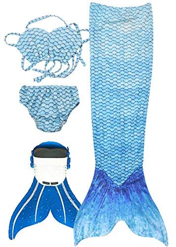Mdchen Bikini Badeanzge Meerjungfrauenschwanz zum Schwimmen mit Meerjungfrau Flosse Schwimmen Kostm Bademode Meerjungfrauenschwanz Schwanzflosse niedlich Muschelbikini, Wasser blau, 12 (130-140cm)
