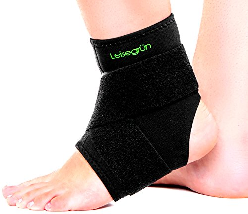 Leisegrün Sprunggelenkbandage mit Klettverschluss, stützt den Fuß beim Sport wie Handball, Fußball, Volleyball – Fußgelenkbandage geeignet für Damen, Herren und Kinder – Größe S-M