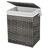 SONGMICS Wäschekorb handgeflochten, 90 L, Wäschesammler aus synthetischem Rattan, mit Deckel und Griffen, faltbar, Wäschesack herausnehmbar, grau LCB51WG