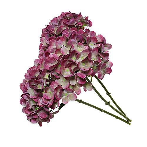 T4U Künstliche Hortensien Kunstblumen Strauß Violett 3er-Set für Wohnung Hochzeit Hotel Restaurant Deko