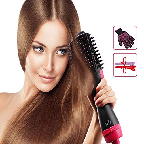 Hiveseen Haartrockner Warmluftbürste One Step, 3 in 1 Fönbürste Elektrisch, Negativ Ion Haarglätter Lockiges Volumizer Styler, 2 Temperaturen & 3 Geschwindigkeiten, Frizz und Static Reduzieren
