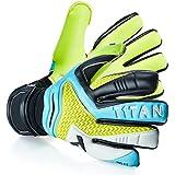 T1TAN Rebel Torwarthandschuhe mit Fingerschutz / Tormannhandschuhe mit 4mm Monster Grip / Fußballhandschuhe mit Innennaht / Blue & Yellow / Größe 9