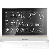 Fetanten Wetterstation Drahtlos mit Außensensor, WS004E Hygrometer Innen mit 7,5'' LCD Display für Thermometer Hygrometer Digital Innen   3CHs Außensensoren für Heim-Hygrometer Thermometer Überwachung