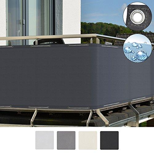 Sol Royal SolVision Balkon Sichtschutz PB2 PES blickdichte Balkonumspannung 90x500 cm - Anthrazit - mit Ösen und Kordel
