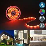 B.K.Licht – Beleuchtung LED Stripes 5m – Lichterkette - Lichtleiste Band - Lichtschlauch mit Farbwechsel Inkl. Fernbedienung – RGB LED Streifen Leiste selbstklebend spritzwassergeschützt IP44