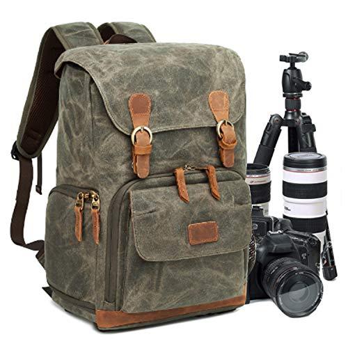 UBaymax Kamerarucksack Kameratasche, Wasserdicht Canvas Leinenstoff und Echt-Leder DSLR Rucksack, 15,6 Zoll Laptop Rucksack, Fotorucksack für Kamera Zubehör und Outdoor Sport Reise