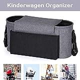 Kinderwagen Organizer Universale Kinderwagentasche Kinder Buggy Tasche mit Reißverschlusstasche Stroller Bag mit Verstellbaren Bändern, Multifunktionale Baby Zubehör, Grau