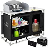 Kesser Campingschrank, Campingküche mit Aluminiumgestell, Spritzschutz und Tragetasche Kocherschrank für Camping, Campingmöbel, Outdoor, schwarz/grau Typ F4