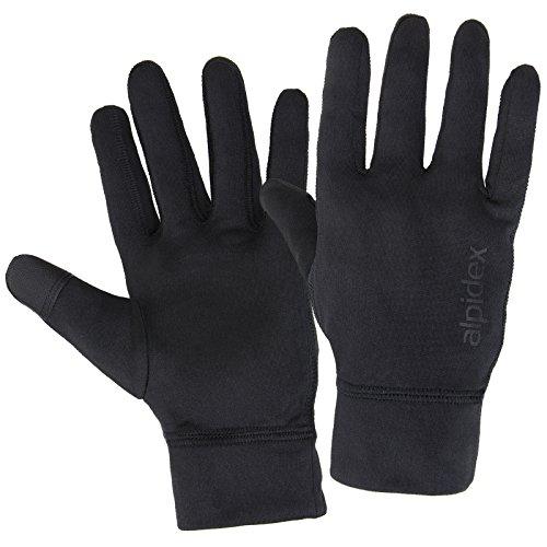 Alpidex Laufhandschuhe RUNNER UP leichte Sporthandschuhe Unisex mit Touchscreen Funktion, Größe:M, Farbe:black