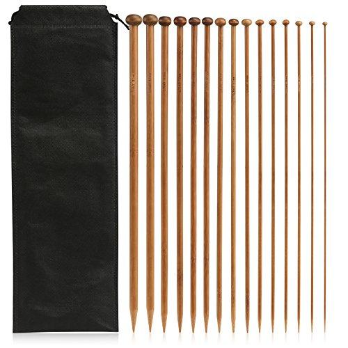 LIHAO Stricknadeln Bambus Set 15 Größe (30 Stk.) 2.0-10.0mm Häkelnadeln Handarbeit Knitting Needles Crochet Hooks