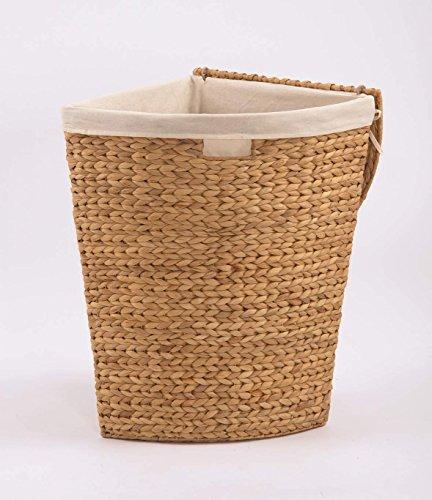 Wäschetruhe Wäschekorb Ecktruhe Eckwäschetruhe aus Wasserhyazinthe, für wenig Platz (Größe 1: B42 x T30 x H49cm)