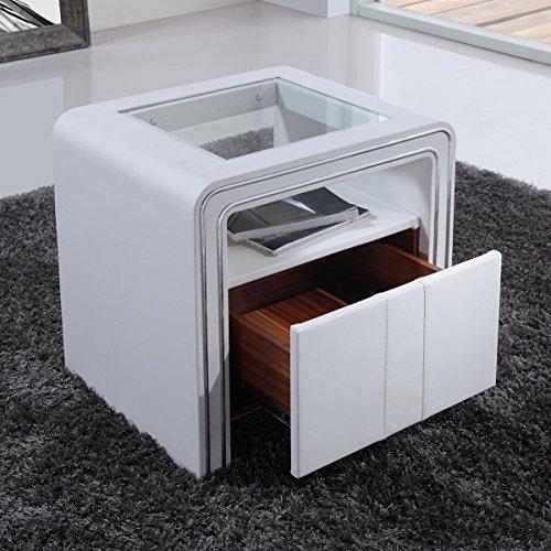 i-flair - Nachttisch, Nachtkonsole aus hochwertigem Kunstleder - S85 Weiß